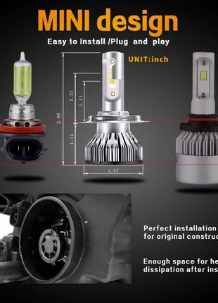 530F Комплект сверхярких светодиодных LED авто ламп H4 H1 H7 н...