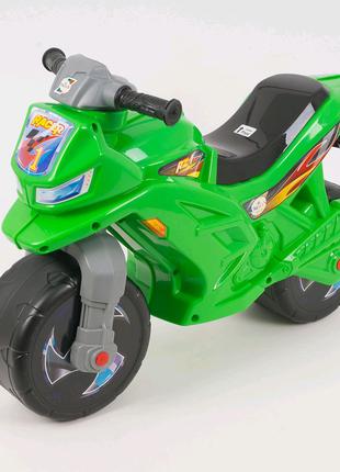 Мотоцикл, толокар, беговел детский, зеленый