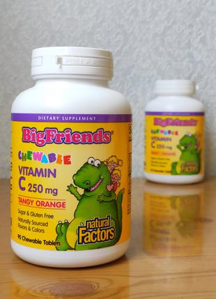 Витамин С для детей, Big Friends, Natural Factors, 250 мг, 90шт