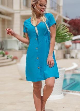 Голубое летнее платье лён