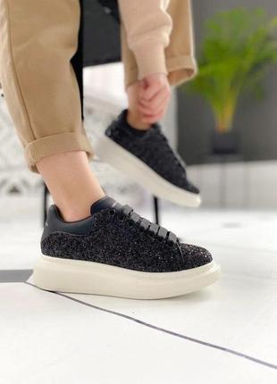 Alexander mcqueen glitter женские стильные кроссовки