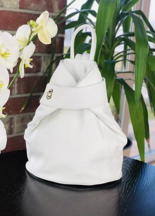 Рюкзак трансформер женский натуральная кожа Италия белый