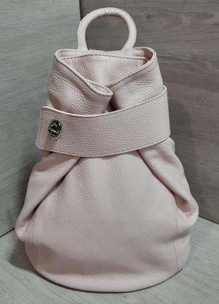 Рюкзак трансформер натуральная кожа Италия розовый