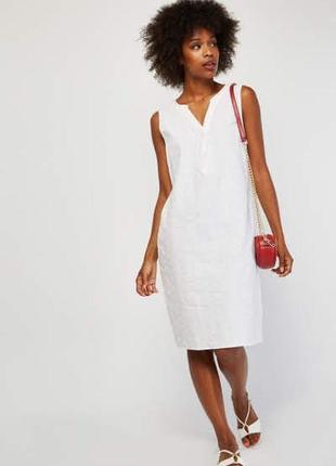 Белое хлопковое миди платье с прошвой