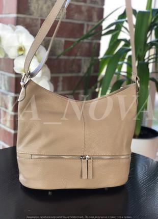 Стильная женская сумочка хобо натуральная кожа италия таупе