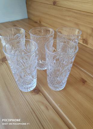 Винтаж Высокий хрустальный стакан