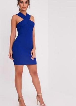 Платье сарафан в рубчик синий кобальт