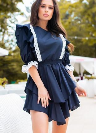 Летнее платье коттон с кружевом