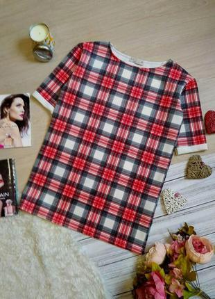 Стильное платье футболка  в клетку прямого кроя размер 10-12 (...
