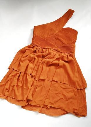 Оранжевое платье на одно плечо h&m в греческом стиле новоес би...