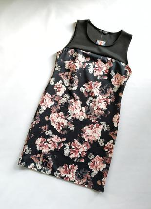 Черное облегающее платье в красивый цветочный принт новое с би...