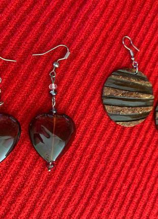 Набір сережки коричневі, серьги, з дерева, модные серьги.