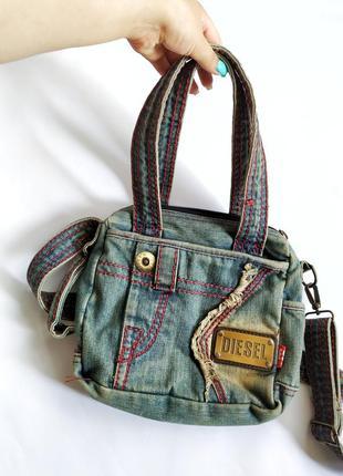 Винтажная джинсовая сумочка diesel кросбади + короткие ручки