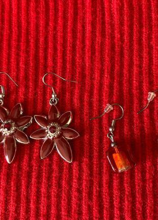 Набір сережок, серьги, квіти.