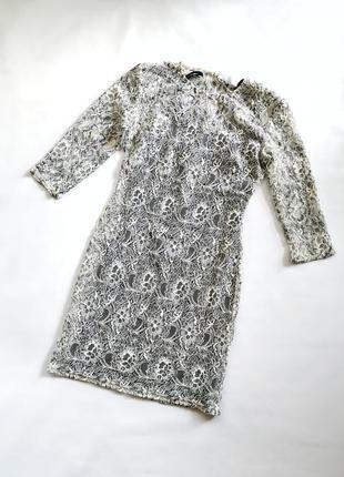 Кружевное платье 2в1 прозрачное с платьем подкладом на тонких ...
