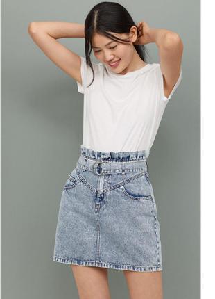 Джинсовая юбка варёный деним 32,34,38,40