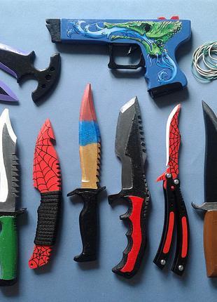 Набор: 10 деревянных ножей и пистолет Глок 18 из популярной игры