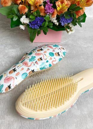 """Расческа для распутывания волос """"кактус-фламинго"""" (большая) к...."""
