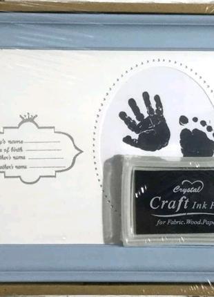 Фоторамка коллаж детская, для новорожденного, отпечатки ног и рук