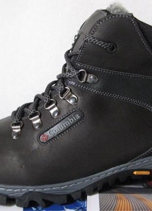 Мужские зимние кожаные ботинки большого размера качественные и уд