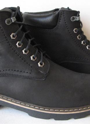 Супер Wrangler! Мужские зимние ботинки черные натуральная кожа об