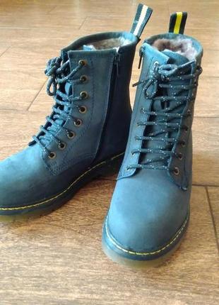 Зимние женские кожаные ботинки (нубук) на шнуровке, 36-й размер