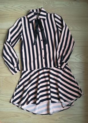 Трендовое платье в полоску с длинным рукавом