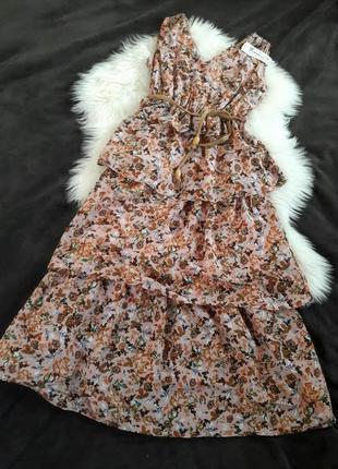 Хлопковое розовое миди платье в цветочный принт