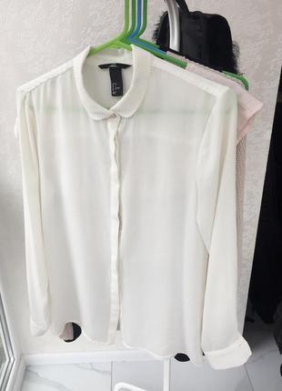 🍂белая блуза от h&m с красивым воротничком 🍂