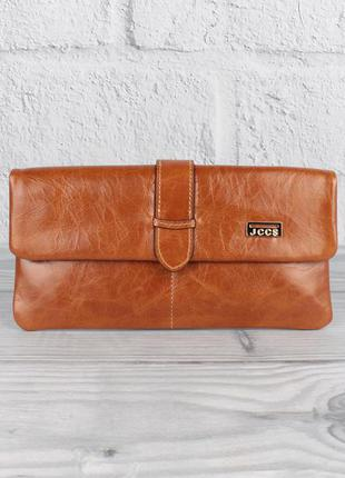 Кошелек женский кожаный jccs 1002 коричневый на кнопке