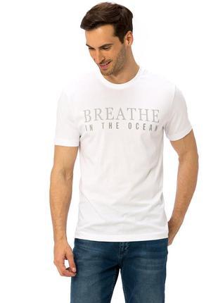 Белая мужская футболка lc waikiki / лс вайкики breathe in the ...