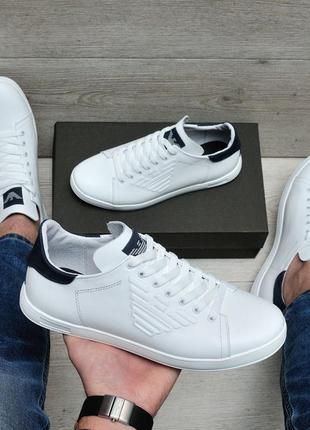 Натуральные кожаные мужские белые кроссовки кеды мокасины крос...