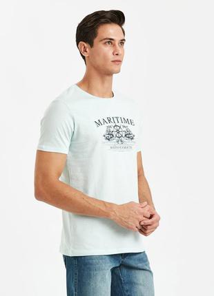 Голубая мужская футболка lc waikiki / лс вайкики maritime