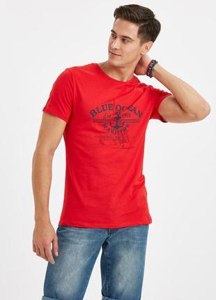 Красная мужская футболка lc waikiki / лс вайкики blue ocean