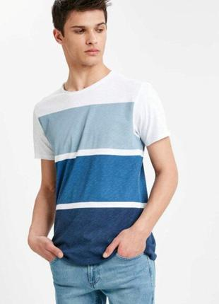 Белая мужская футболка lc waikiki / лс вайкики в серо-синюю по...