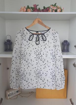 Шифоновая блузка с вырезами на груди длинный рукав george