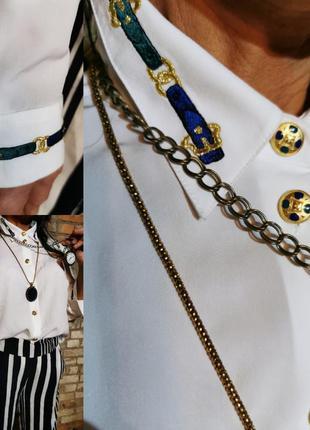 Винтажная рубашка в стиле hermes с вышивкой lucia винтаж ретро