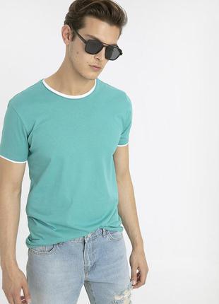 Бирюзовая мужская футболка lc waikiki / лс вайкики с белой ока...