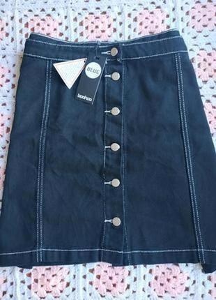 Новая джинсовая юбка трапеция большого размера boohoo
