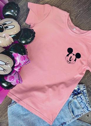 Женская футболка хлопок розовая с принтом mickey mouse микки маус
