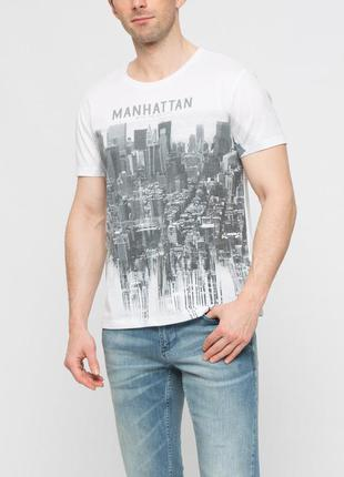 Белая мужская футболка lc waikiki / лс вайкики manhattan