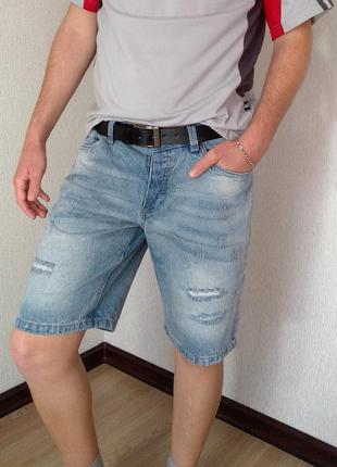 Стильные мужские джинсовые шорты тренд rainbow