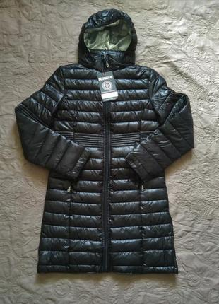 Новое термо пальто geographical norway чёрный глянец куртка парка