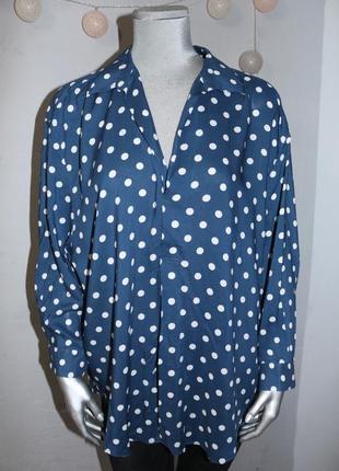 Блуза рубашка в горох свободного кроя zara