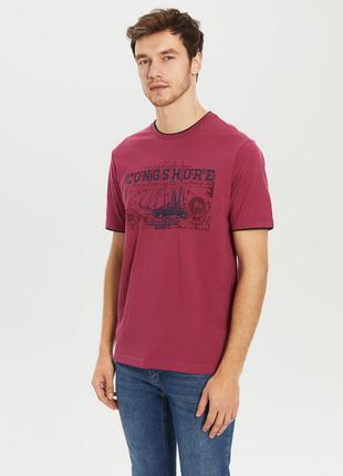Вишневая мужская футболка lc waikiki / лс вайкики longshore