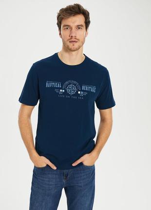 Синяя мужская футболка lc waikiki / лс вайкики nautical heritage