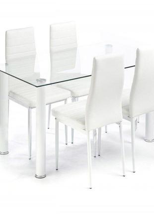 Кухонный стеклянный стол и 4 стула Multi IMP цвет белый