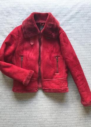 Дубленка авиатор на меху красная куртка эко замша