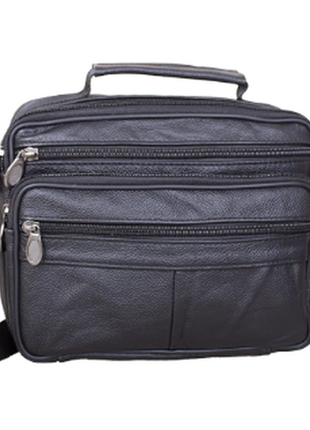Кожаная мужская сумка черная