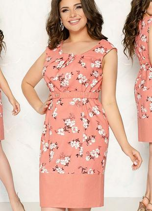 Льняное приталенное платье, большого размера